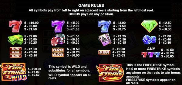 สัญลักษณ์และอัตราการจ่ายของเกมนี้
