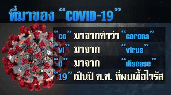 เชื้อไวรัสก่อโรคโคโรนา มีชื่อทางการว่าอะไร? covid 19 ย่อมาจาก?